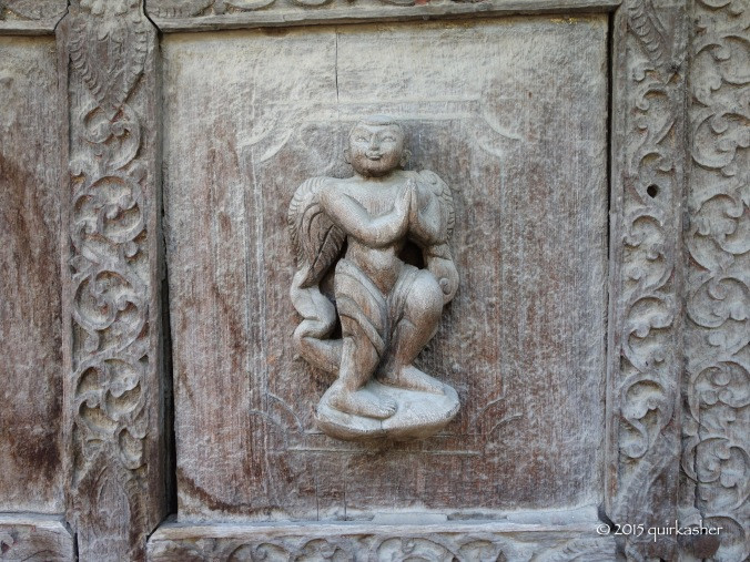 Old carving of Western angel