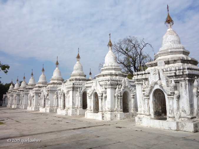 Some of the kyauksa gus at Kuthodaw Pagoda