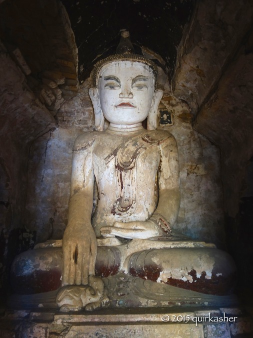 A rather unhappy looking Buddha in one of the pagodas at Indein
