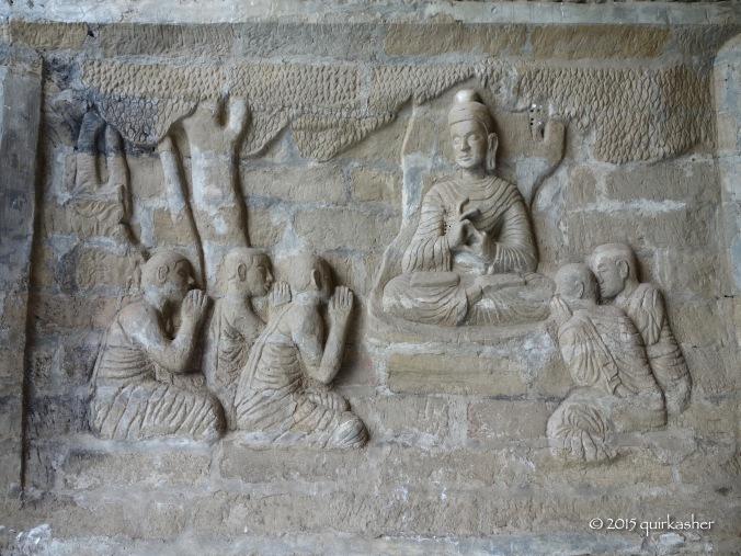 Wall relief art in Lawkananda Pagoda