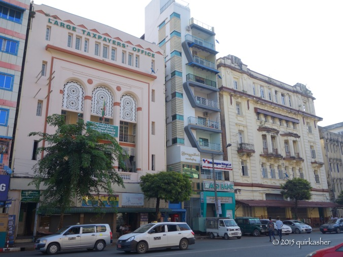 Colonial buildings in Yangon mixed with modern ones