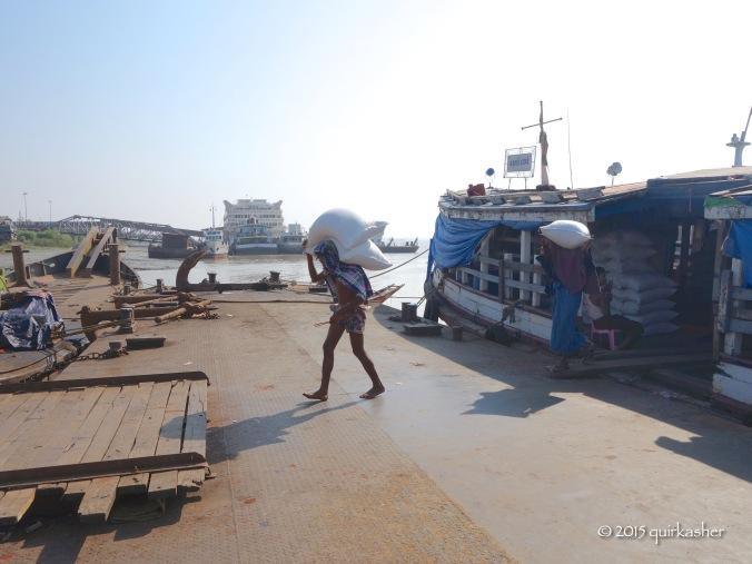 Unloading rice