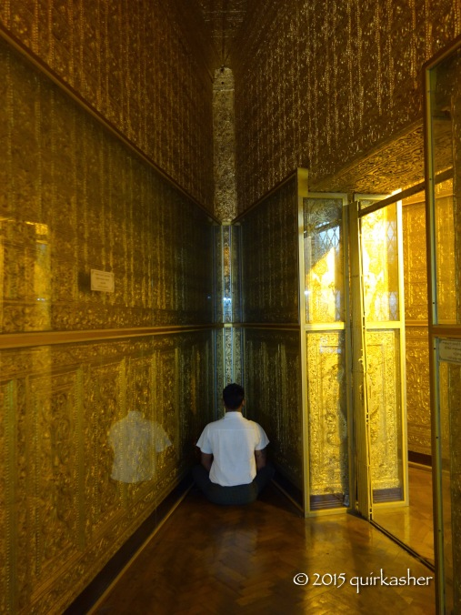 Meditating in the golden interior of the stupa
