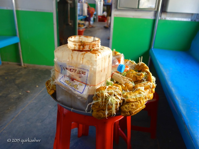 Local snack on display in the circular train carriage