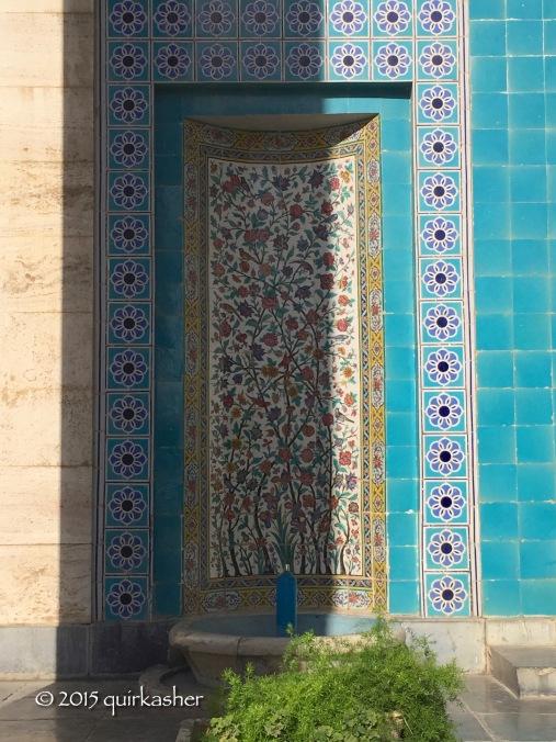 Tile work on mausoleum