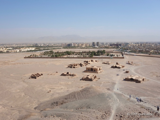 View from the tower of silence with the modern Zoroastrian cemetery in the rectangular compound