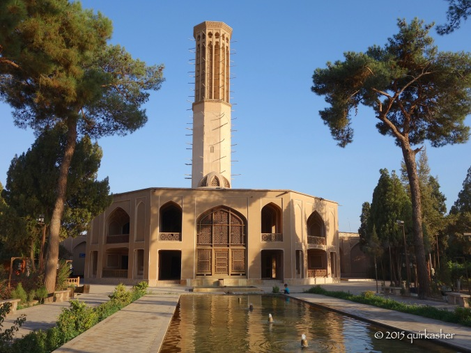 Pavilion in Dolat Abad Garden with the tallest windcatcher in Iran