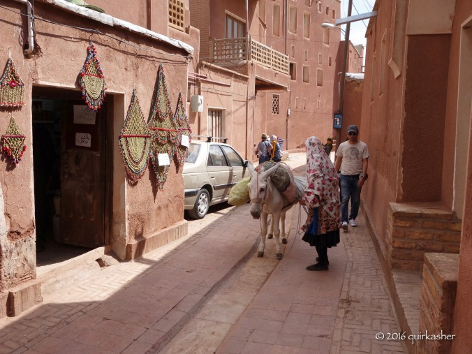 Abyaneh lady with donkey trying to walk through tourist groups