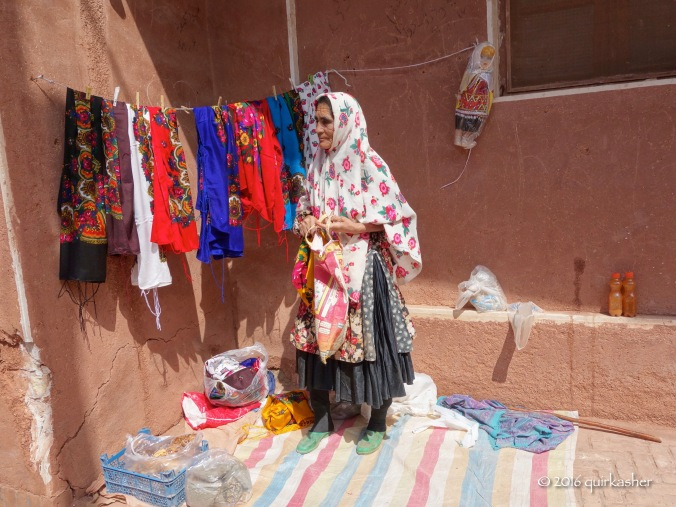 Abyaneh lady waiting for customers
