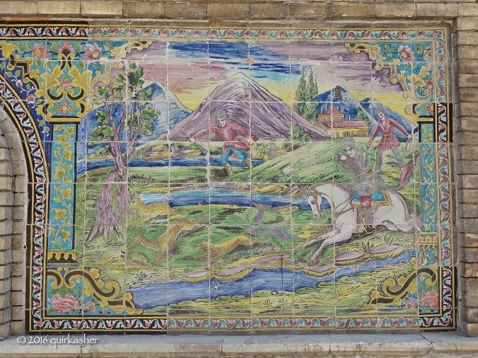 Tile work in Golestan Palace