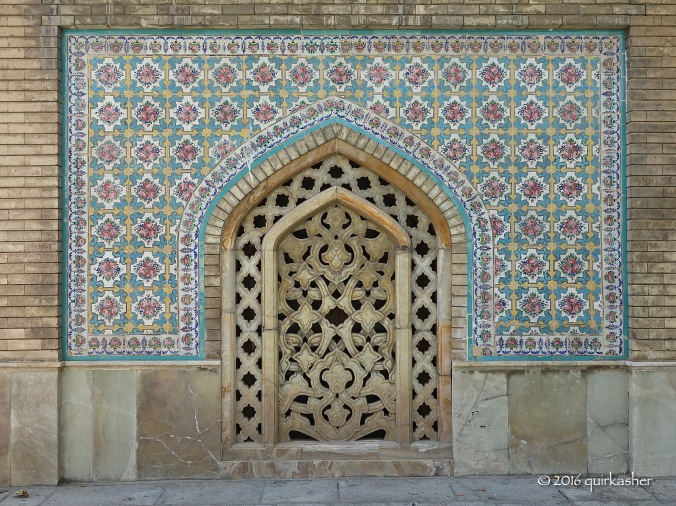 Tile work and carving in Golestan Palace