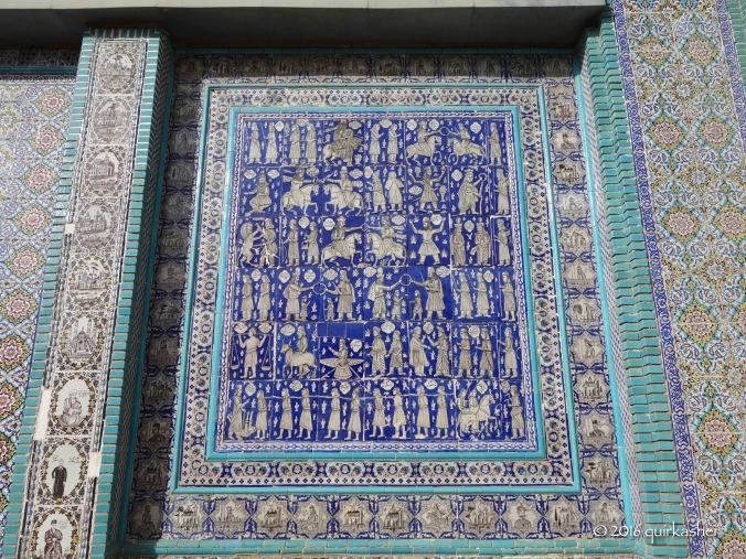 Definitely un-Islamic tile work at Tekyeh Moaven-al-molk