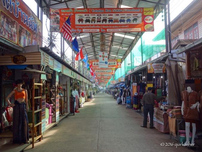 Shops at Ban Na Kha selling silk clothing with mostly local designs