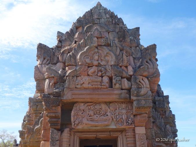 Pediment and the famous Phra Narai lintel below it on the main prang of Prasat Hin Phanom Rung