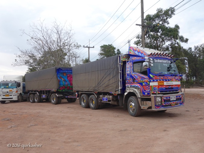 One of the colourful trucks frequently seen in Thailand