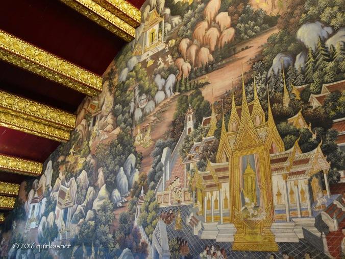 Wall art inside Wat Yai