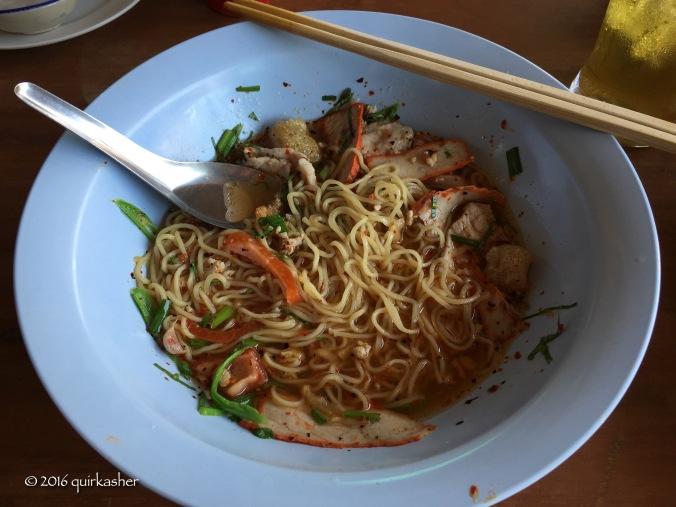 Sukhothai noodles in tom yum soup